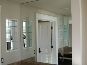 Vanity Mirror with mirrored sconce cover plates