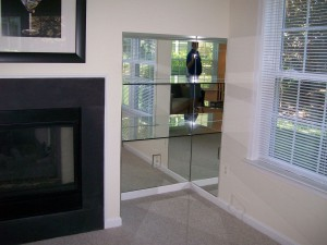 Stack unit with clear mirror and glass shelves
