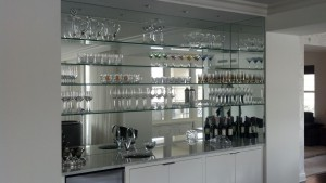 Bar stack system with clear mirror and glass shelves
