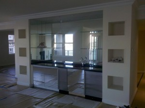 Mirror and Glass shelves stack unit