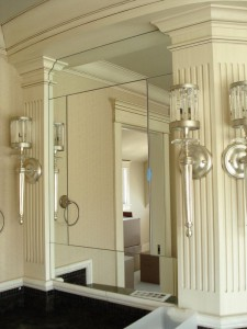 Wall mirrors scribed to fit moulding