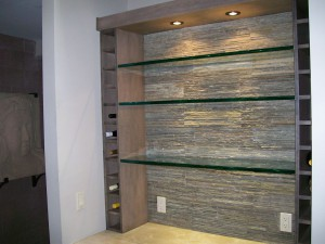 Glass wine rack with shelves