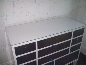 Painted glass dresser top