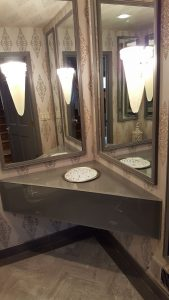 Painted glass vanity top and skirt